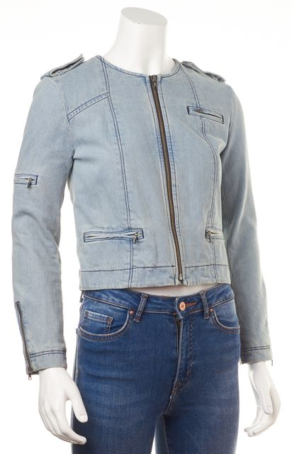 ALICE + OLIVIA Blue Cotton Light Wash Zip Front Jean Jacket