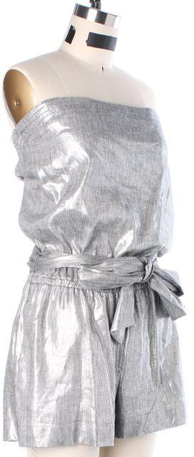 ALICE + OLIVIA Silver Linen Jumpsuit/ Romper
