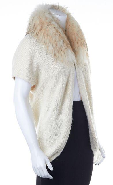 ALICE + OLIVIA Ivory Fur Lined Short Sleeve Cardigan