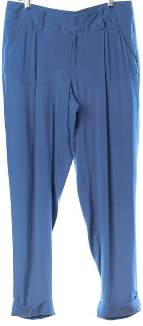 ALICE + OLIVIA Blue Silk Pleated Cuffed Hem Casual Pants