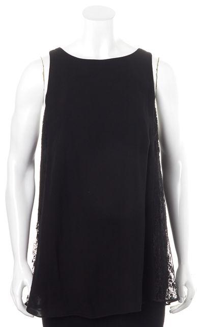 ALICE + OLIVIA Black Lace Sleeveless Zipped Back Blouse Top