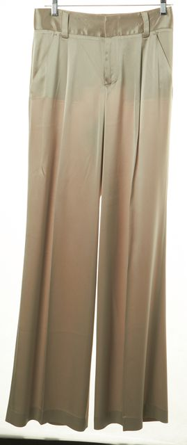 ALICE + OLIVIA Champagne Pleated Wide-Leg Trouser Dress Pants