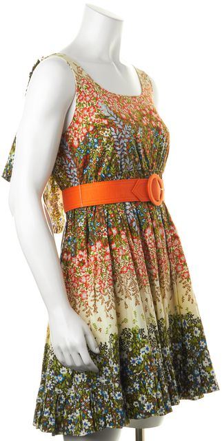 ALICE + OLIVIA Olive Green Orange Ivory Floral Print Fit & Flare Dress