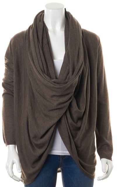 ALICE + OLIVIA Brown Wool Blend Long Sleeve Wrap Sweater