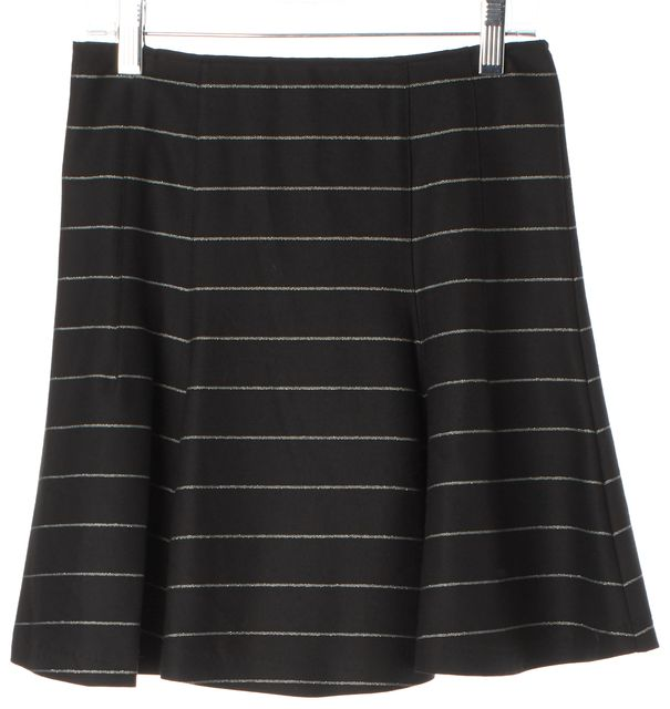 ALICE + OLIVIA Black Metallic Striped Flounce Mini Skirt