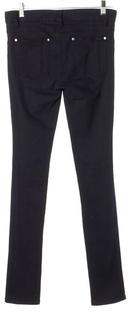 ALICE + OLIVIA Navy Blue Mid-Rise Stretch Cotton Skinny Jeans
