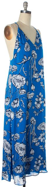 ALICE + OLIVIA Blue White Floral Printed V-Neck Spaghetti Strap Maxi Dress