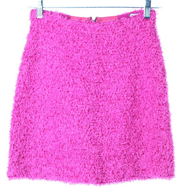 ALICE + OLIVIA Neon Pink Textured Above Knee Straight Skirt