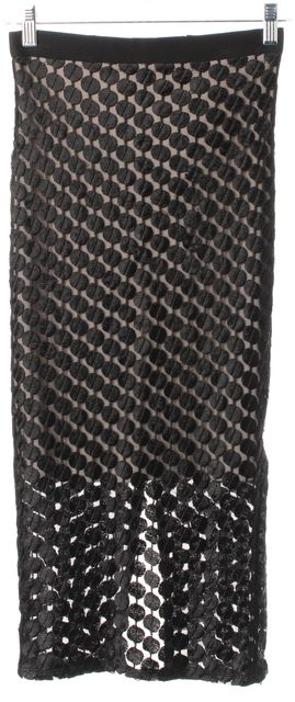 ALICE + OLIVIA Black Beige Mesh Geometric Midi Pencil Skirt