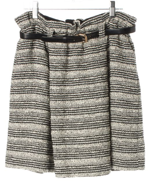 ALICE + OLIVIA Black White Tweed Belted Pleated A-Line Skirt