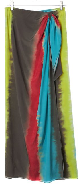 ALICE + OLIVIA Multi-Color Tie Dye Silk Wrap Style Maxi Skirt