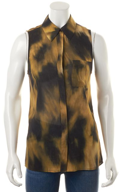 ALICE + OLIVIA Yellow Brown Abstract Silk Cutout Back Button Down Shirt