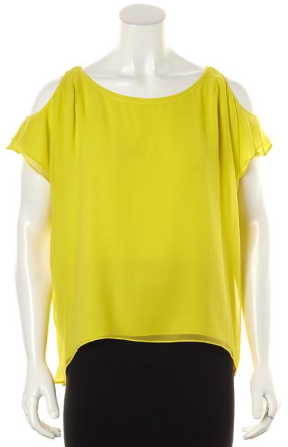 ALICE + OLIVIA Yellow Cold Shoulder Oversized Blouse Top