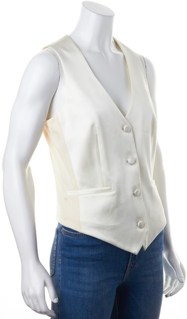 ALICE + OLIVIA Ivory Three Button Vest
