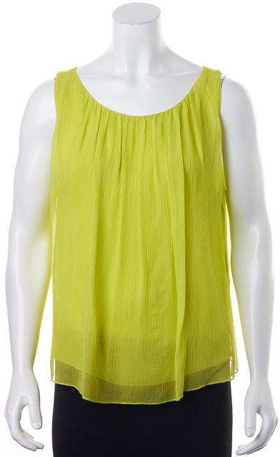 ALICE + OLIVIA Neon Green Relaxed Fit Silk Sleeveless Blouse