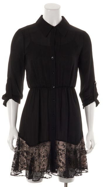 ALICE + OLIVIA Beige Black Lace Overlay Silk Fit & Flare Dress