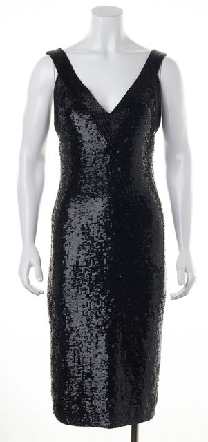 ALICE + OLIVIA Black Sequin Beaded Sheer Mesh Panel Formal Sheath Dress