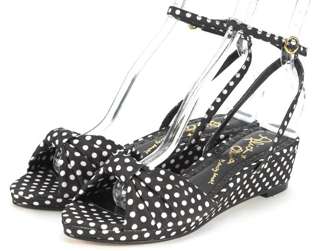 ALICE + OLIVIA Black White Canvas Polka Dot Wedged Alexi Sandals