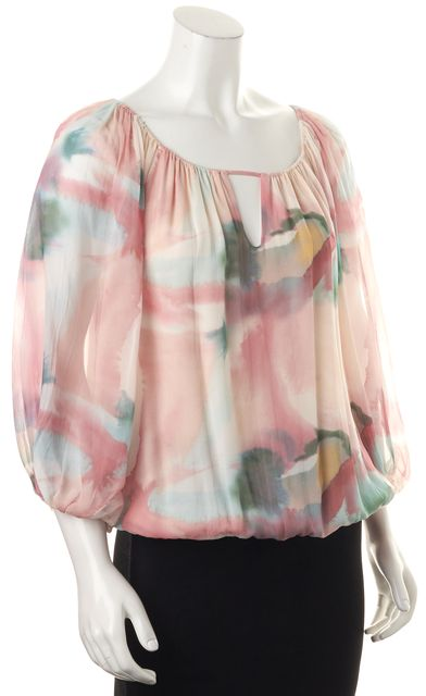 ALICE + OLIVIA Pink Blue Watercolor Silk Keyhole Semi Sheer Blouse Top