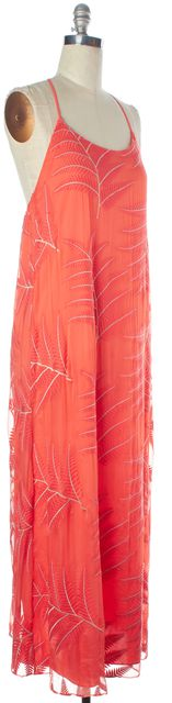 ALICE + OLIVIA Pink Leaf Embroidered Silk Maxi Dress