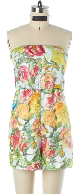 ALICE + OLIVIA Green Yellow Orange Floral Print Silk Jumpsuit/ Romper