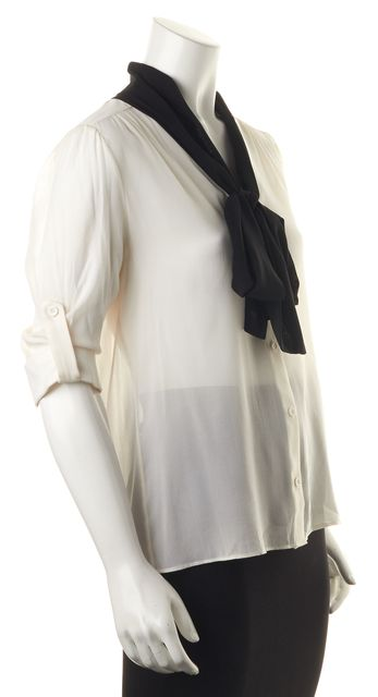 ALICE + OLIVIA White Black Necktie Blouse