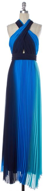 ALICE + OLIVIA Blue Green Ombre Pleated Halter Cutout Front Maxi Dress