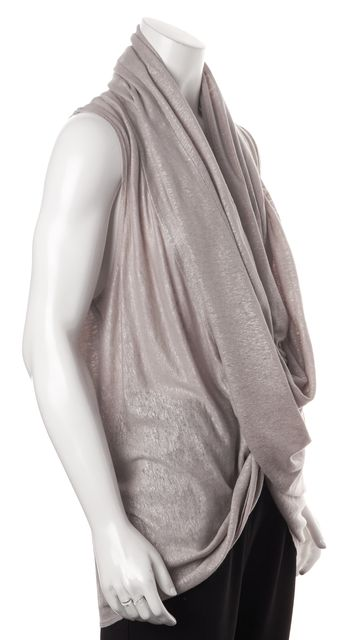 ALICE + OLIVIA Silver Sleeveless Cowl Neck Wrap Top