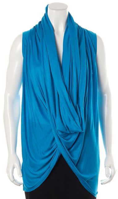 ALICE + OLIVIA Blue Sleeveless Draped Wrap Around Blouse Top