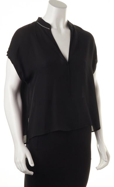 ALICE + OLIVIA Black Silk Sheer Neckline Trim Relaxed Fit Blouse Top