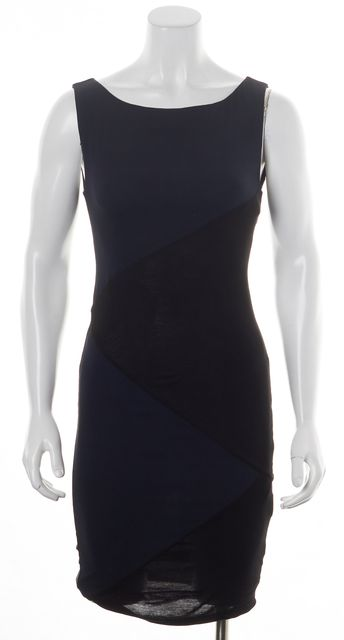 ALICE + OLIVIA Navy Blue Black Sleeveless Colorblock Sheath Dress