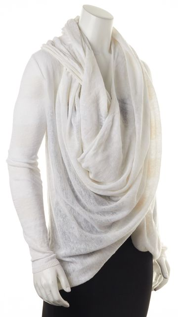 ALICE + OLIVIA White Linen Wrap Around Cardigan