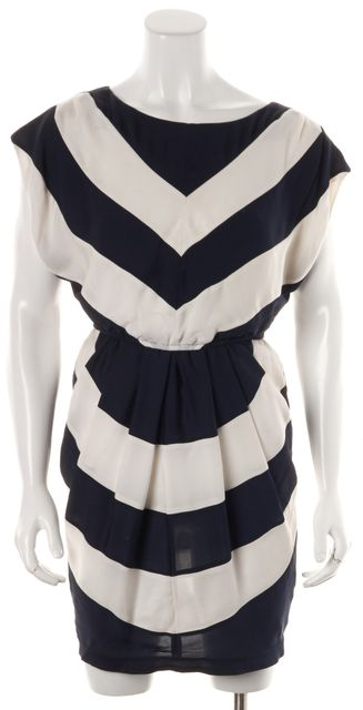 ALICE + OLIVIA Navy Blue White Striped Silk Blouson Dress