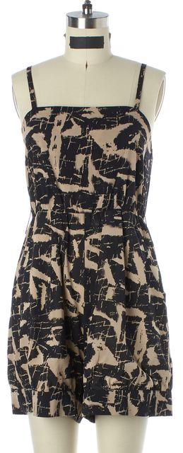 ALICE + OLIVIA Black Beige Abstract Print Silk Jumpsuit/ Romper