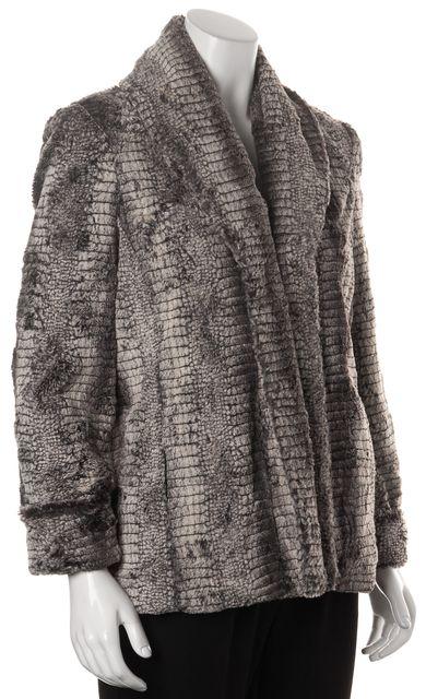 ALICE + OLIVIA Gray White Black Faux Fur Basic Coat