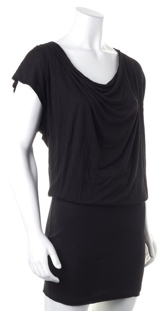ALICE + OLIVIA Black Scoop Neck Short Sleeve Blouson Dress