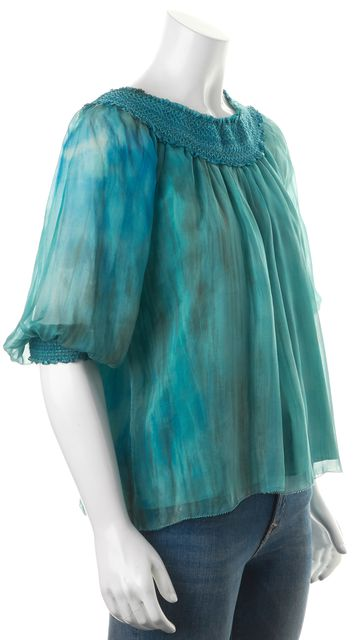 ALICE + OLIVIA Green Blue Tie Dye Silk Semi Sheer Blouse Top