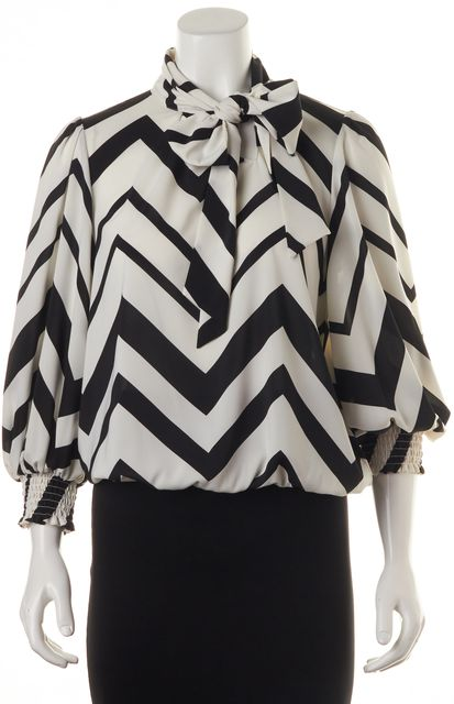 ALICE + OLIVIA Black Striped Ascot Blouse
