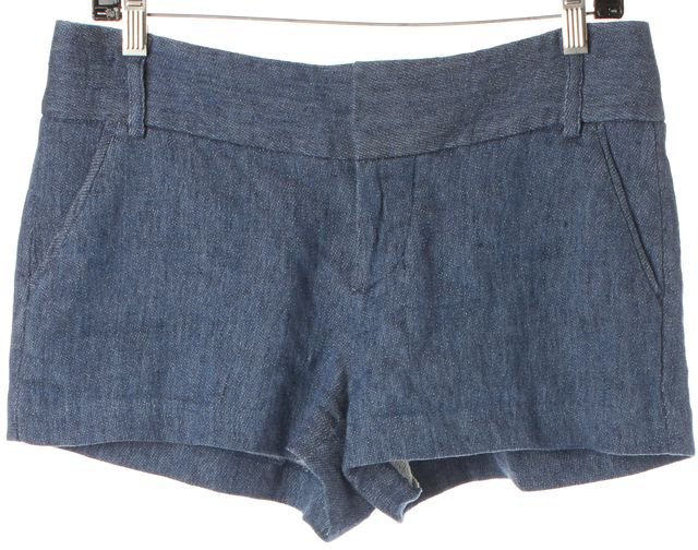 ALICE + OLIVIA Blue Linen Woven Mini Shorts