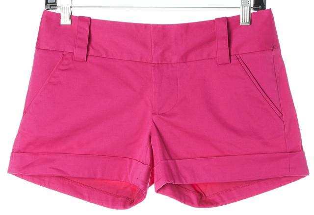 ALICE + OLIVIA Hot Pink Stretch Cotton Cuffed Casual Shorts