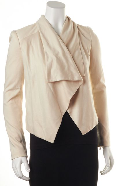 ALICE + OLIVIA Ivory Jersey Leather Trim Zipper Sleeves Draped Open Jacket
