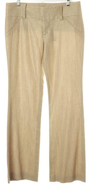 ALICE + OLIVIA Beige Linen Blend Wide Leg Trousers Pants