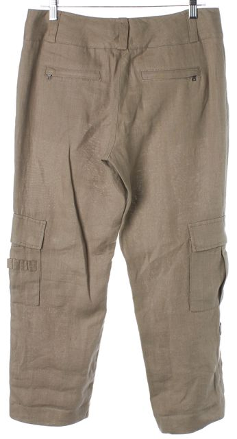 ALICE + OLIVIA Beige Linen Cropped Relaxed Fit Cargo Pants