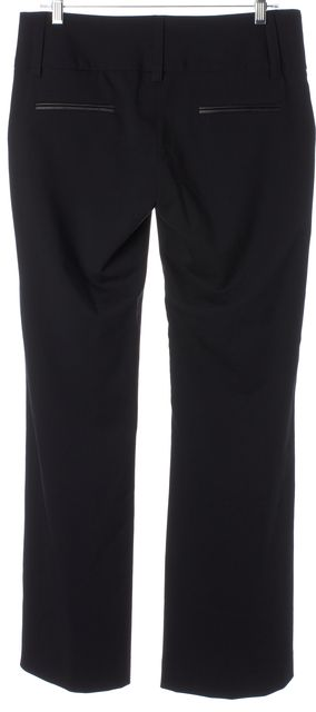 ALICE + OLIVIA Black Wool Leather Trim Flared Leg Trousers Pants