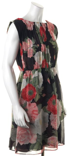ALICE + OLIVIA Black Red Green White Floral Print Silk Blouson Dress