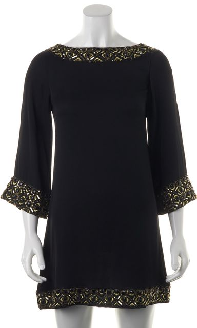 ALICE + OLIVIA Black Gold Sequin Embellished Silk Shift Dress