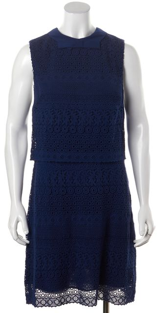 ALICE + OLIVIA Indigo Blue Crochet Sleeveless Shift Dress