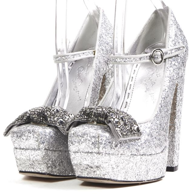 ALICE + OLIVIA Silver Glitter Bead Embellished Mary Jane Platform Pumps
