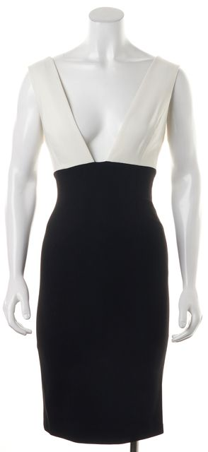 ALICE + OLIVIA Black Cream Color Block Deep V-Neck Sheath Dress