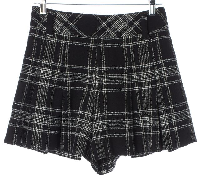 ALICE + OLIVIA Black White Plaid Wool High Waisted Pleated Dress Shorts